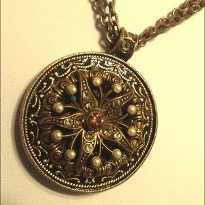 Crystal Round Mosaic Medallion Pendant Necklace